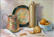 Tangerines Pastels Posters - Copper Pot with Tangerines Poster by Theresa Shelton
