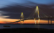 Charleston South Carolina Posters - Copper River Bridge at Dusk Poster by Joseph Rossbach