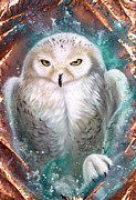 Verdigris Framed Prints - Copper Snowy Owl Framed Print by Sandi Baker