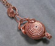 Futuristic Jewelry - Copper Spiral Wire-Work Locket by Heather Jordan