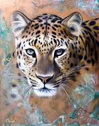 Verdigris Framed Prints - Copper Stealth - Leopard Framed Print by Sandi Baker