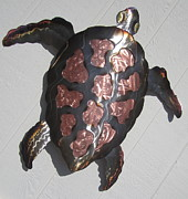 Turtle Sculpture Posters - Copper Steel Turtle wall sculpture Poster by Robert Blackwell