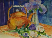 Teapot Painting Originals - Copper Teapot by Gloria Johnson
