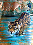 Jaguar Paintings - Copper - Temple of the Jaguar by Sandi Baker