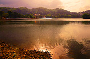 Bank; Clouds; Hills  Prints - Copper Waters of Kandy Lake. Kandy. Sri Lanka Print by Jenny Rainbow