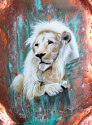 Verdigris Posters - Copper White Lion Poster by Sandi Baker