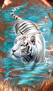 Verdigris Framed Prints - Copper White Tiger Framed Print by Sandi Baker