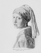 Girl With A Pearl Earring Prints - Copy after Vermeer Head of a Girl Print by Robert Tracy