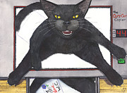Wicked Kitty Metal Prints - Copy Cat Metal Print by Catherine G McElroy