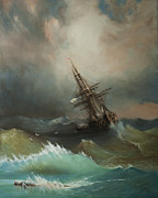 Storm Clouds Paintings - Copy Of Ship In A Stormy Sea by Emily MaCoy