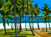 Tropical Trees Paintings - Coqueiros de Tiririca by Douglas Simonson