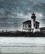 West Coast Art Prints - Coquille Lighthouse Drama Print by Betty LaRue