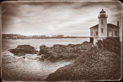 Brown Toned Art Framed Prints - Coquille River Lighthouse- Vintage Framed Print by Priscilla Burgers