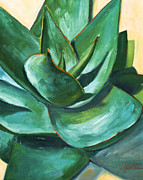 Agave Paintings - Coral Aloe 1 by Athena Mantle