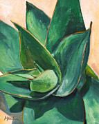 Agave Paintings - Coral Aloe 3 by Athena Mantle