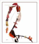 Beads Jewelry Prints - Coral and Black Glass Beads Print by Gretchen Wrede