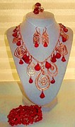 Coral Jewelry - Coral And Copper Set by Diana Dearen