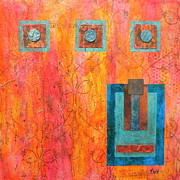 Painted Mixed Media Posters - Coral and Turquoise Poster by Debi Pople