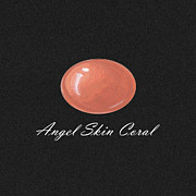 Gouache Jewelry - Coral cabochon black by Marie Esther NC