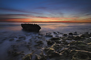 Sunset Scenes. Prints - Coral Cove Beach at Dawn Print by Debra and Dave Vanderlaan