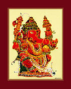 Ganapathi Paintings - Coral Ganapathi by Santi Arts