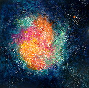 Outer Space Painting Framed Prints - Coral Nebula Framed Print by Freddie Lieberman
