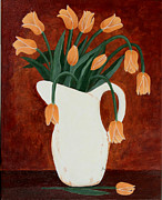 Water Jug Originals - Coral Tulips in a Milk Pitcher by Barbara Griffin