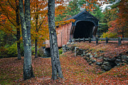 New England Autumn Art - Corbin Covered Bridge Newport New Hampshire by Edward Fielding