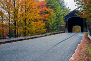 Fall Foliage Photos - Corbin Covered Bridge Vermont by Edward Fielding