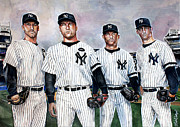 Derek Jeter Framed Prints - Core 4 Yankees  Framed Print by Michael  Pattison