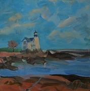 Maine Seacoast Paintings - Corea Light by Francine Frank