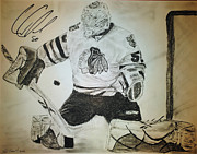 Goalie Drawings Originals - Corey Crawford by Tim Brandt