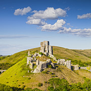Summer Travel Prints - Corfe Castle Dorset England Square Print by Colin and Linda McKie