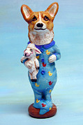 Original Sculpture Posters - Corgi Cookie please Poster by Lyn Cook
