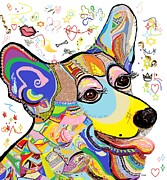 Canine Mixed Media Prints - Corgi Cutie Print by Eloise Schneider