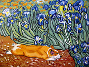 Corgis Framed Prints - Corgi in Irises Framed Print by Karen Howell