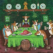 St. Patrick Paintings - Corgi Pub by Margaryta Yermolayeva