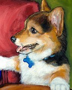 Corgi Prints - Corgi Pup Sitting Up Print by Dottie Dracos