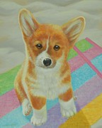 Beach Towel Prints - Corgi Puppy Print by Bonnie Golden