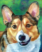 Puppies Paintings - Corgi Smile by Lyn Cook