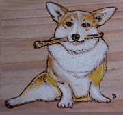 Pet Dog Pyrography Framed Prints - Corgi With Bone Framed Print by Jeanie Beline