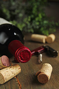 Chianti Framed Prints - Cork wine and bottle Framed Print by Isabel Poulin
