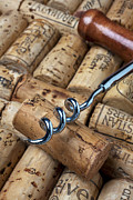 Corks Prints - Corkscrew on corks Print by Garry Gay