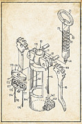 Corkscrew Prints - Corkscrew Patent Print by Digital Reproductions