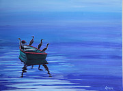 Dory Paintings - Cormorants on Dory by Lorraine Vatcher