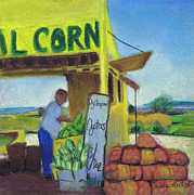 Yellow Oysters Posters - Corn and Oysters Farmstand Poster by Susan Herbst