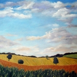 Corn Painting Framed Prints - Corn and Wheat - landscape Framed Print by Linda Apple