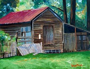 Farm Buildings Painting Originals - Corn Crib by Lynn Moon