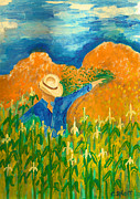 Corn Paintings - Corn field by Christina Schott
