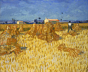 Masterpiece Digital Art Prints - Corn Harvest in Provence Print by Nomad Art And  Design